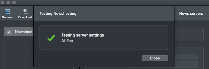 Usenapp Test Server Settings
